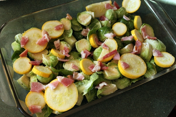 Grill Roasted Brussels Sprouts with Yellow Squash and Bacon  before cooking