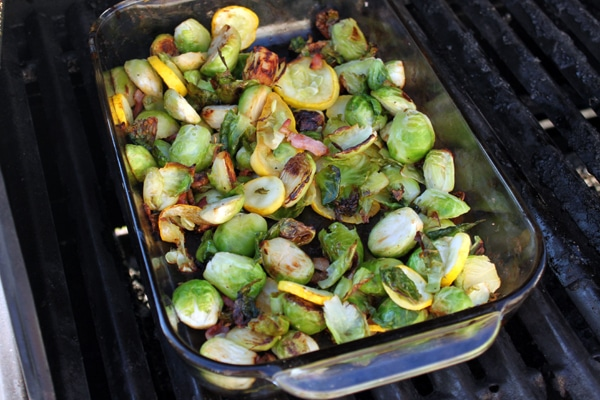 Grill Roasted Brussels Sprouts with Yellow Squash and Bacon all done
