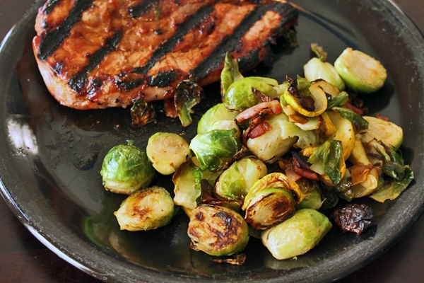 Grill Roasted Brussels Sprouts with Yellow Squash and Bacon Final Plate