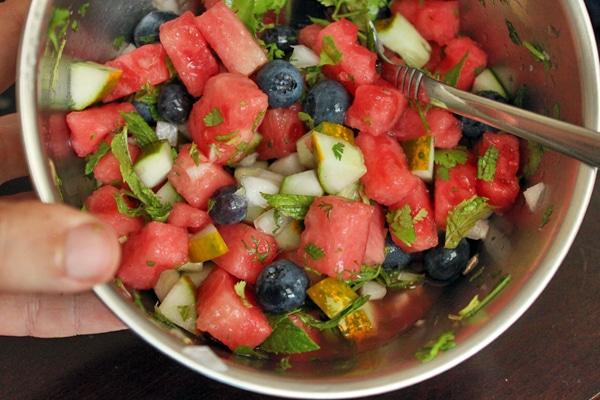making Watermelon Blueberry Salsa
