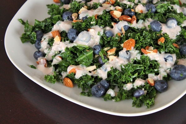 Kale and Blueberry Salad with Creamy Strawberry Dressing - Finished!