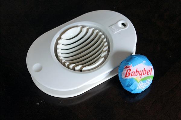 Mini Babybel light and an egg slicer.