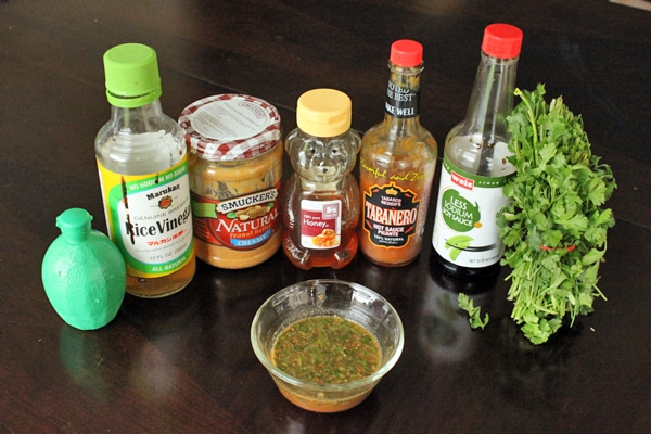 "Ingredients for Spicy ""Noodle"" bowl with Peanuts and Cilantro"
