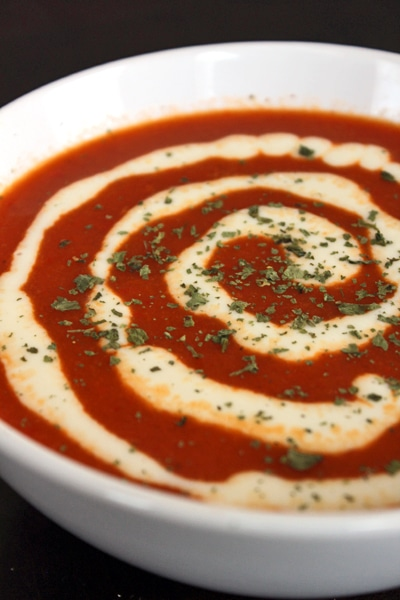 Red Bell Pepper Soup with White Cheddar