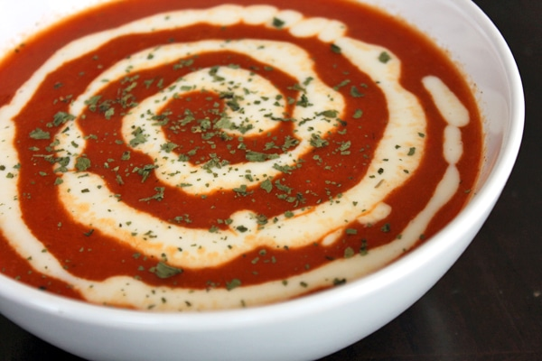 Red Bell Pepper Soup with White Cheddar and cilantro