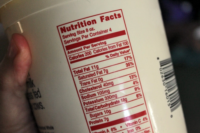 Full fat yogurt nutritional info