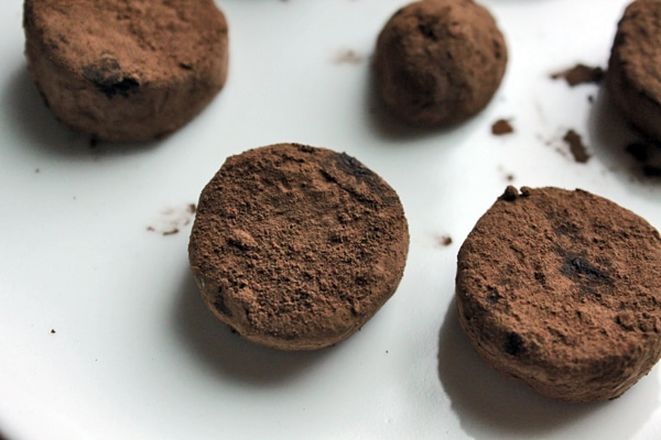 Cocoa Dusted Banana Bites on Plate