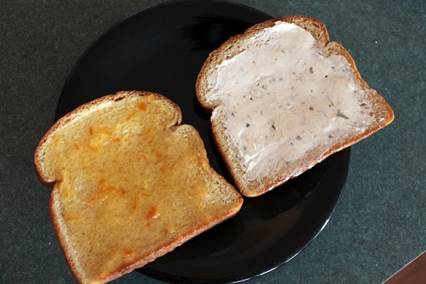 Pressed Ham Sandwich with Orange Marmalade and Cream Cheese Step 1