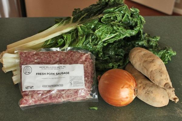 Sausage Potato Chard soup ingredients
