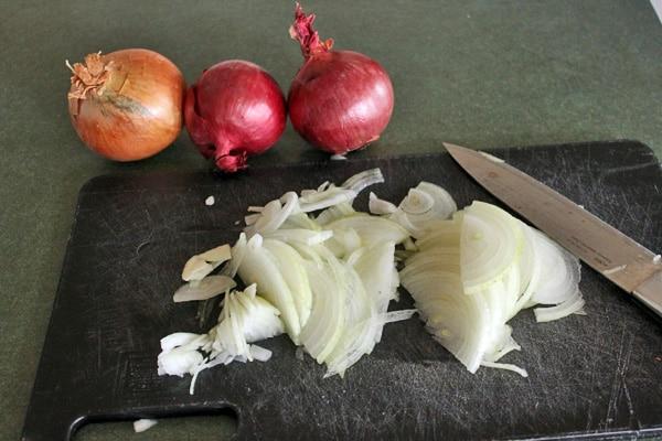 Onion and Mushroom Soup - Slice onions