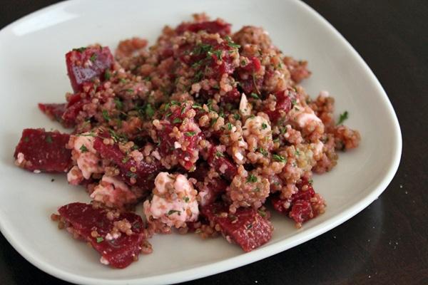 Plate of Quinoa, Beet and Feta Salad
