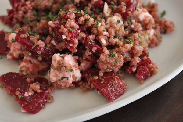 Close up of Quinoa, Beet and Feta Salad