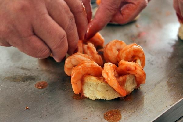 Arranging Shrimp on Sope
