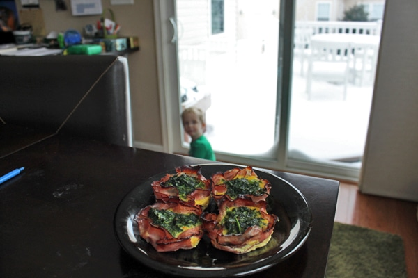 Spicy Kale Egg Muffins on Snowy Day