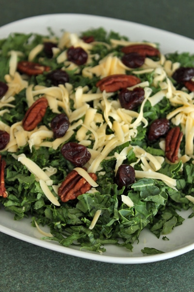 Kale salad with Pecans, Dried Cherries and Gouda