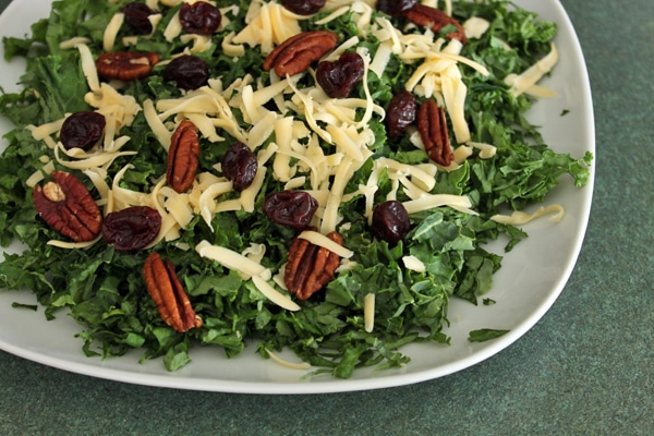 Finished Kale salad with Pecans, Dried Cherries and Gouda