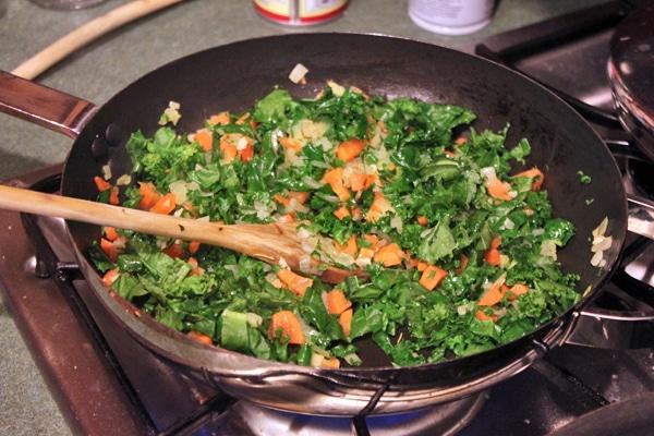 kale cooking for fried millet