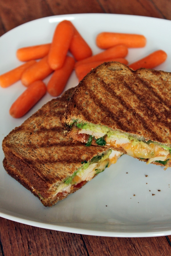 Grilled Chicken Panini with avocado and salsa