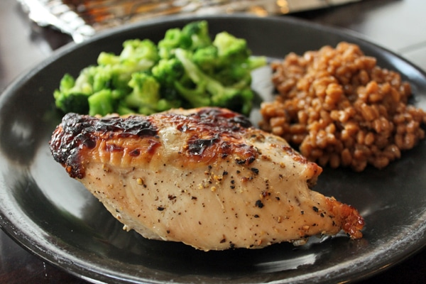 Dinner plate with Roasted Honey Lemon Pepper Chicken Breasts