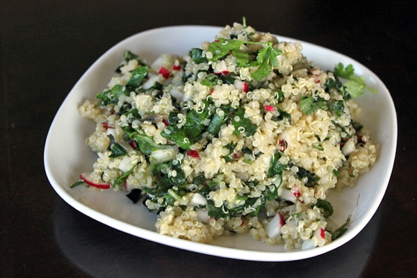 Quinoa Salad with Swiss Chard and Radishes plated