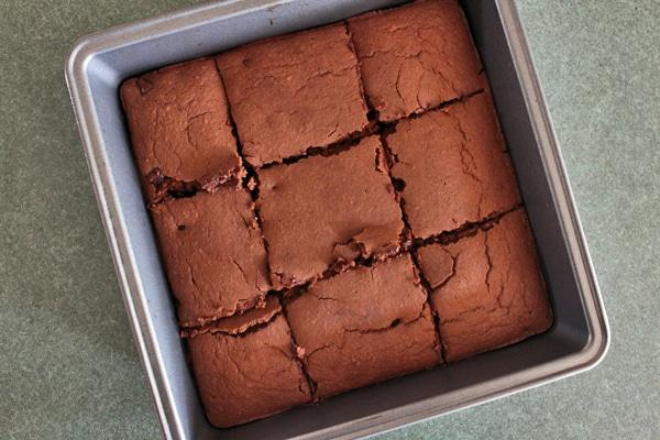 Blender Brownies - Cut