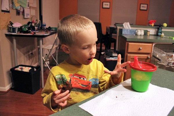 Toddler eating blender brownie 2