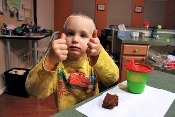 Toddler eating blender brownie 3