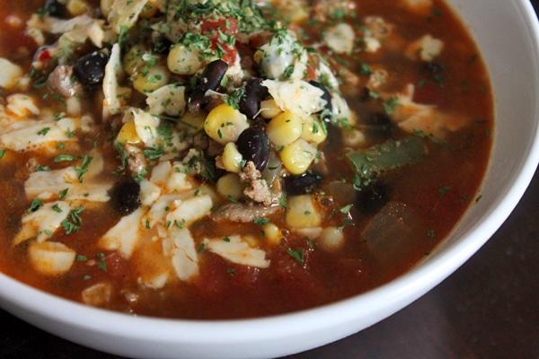 Turkey taco soup close up