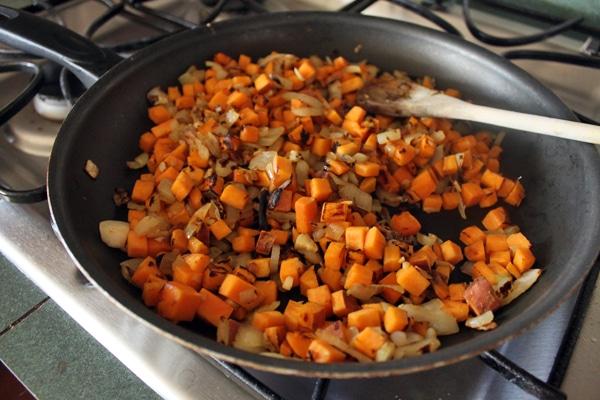 caramelizing sweet potatoes