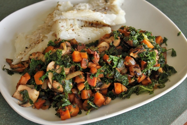 Sweet Potato and Kale Skillet plated