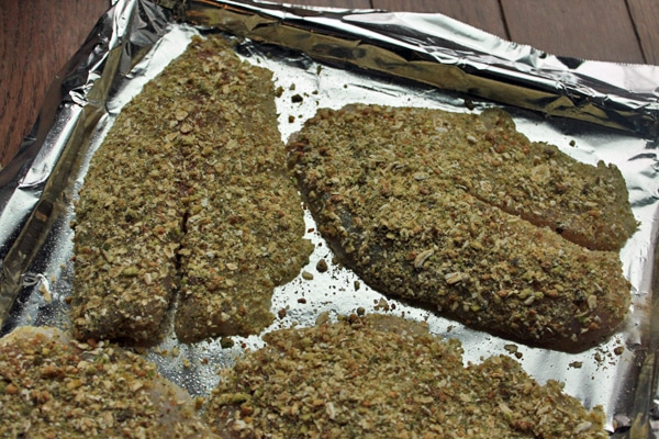 Pistachio and Oat Crusted Tilapia Before cooking
