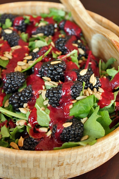 Blackberry and Baby Greens Salad with Sunflower Seeds