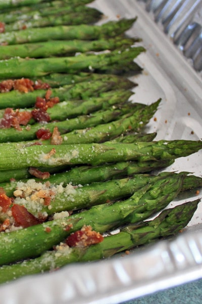 Roasted Asparagus with Parmesan and Bacon Bits