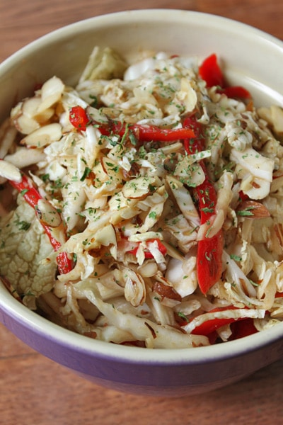 Napa Cabbage Salad with Ginger, Red Peppers and Almonds