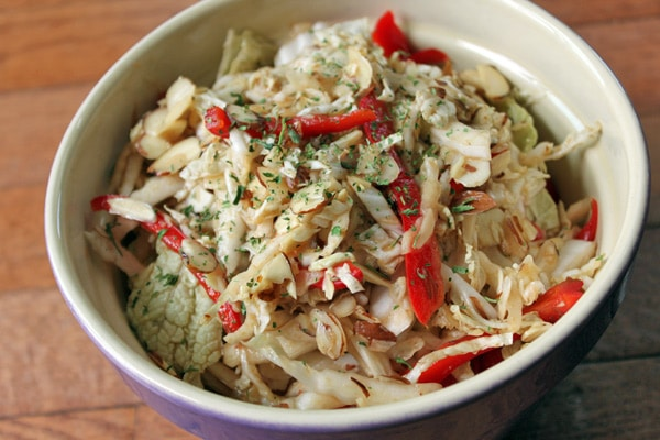 Napa Cabbage Salad with Ginger, Red Peppers and Almonds Finished