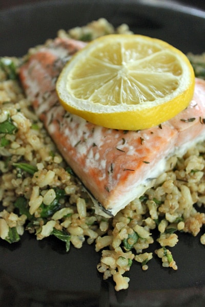 Salmon over a Super Quick Brown Rice and Quinoa Pilaf