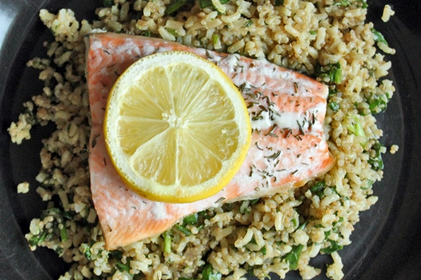 Salmon over a Super Quick Brown Rice and Quinoa Pilaf Top view