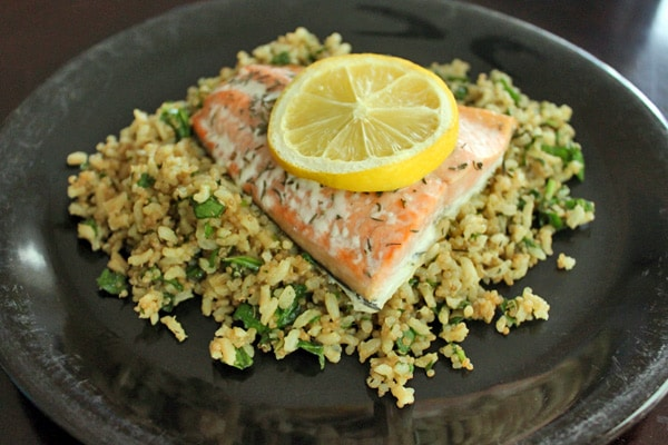 Salmon over a Super Quick Brown Rice and Quinoa Pilaf - Finished Plate