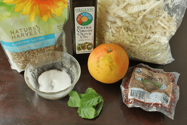 Cabbage, Beet and Grapefruit Slaw - ingredients.