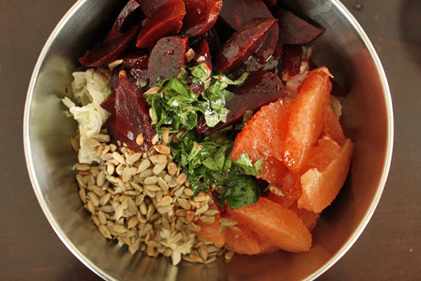 Cabbage, Beet and Grapefruit Slaw - Before toss