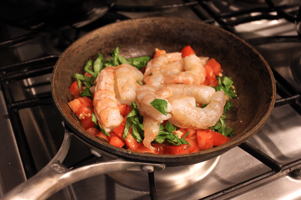 Simple Skillet Shrimp - before