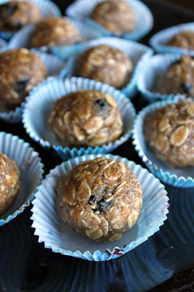 Sunbutter, Maple and Dried Blueberry Energy Balls
