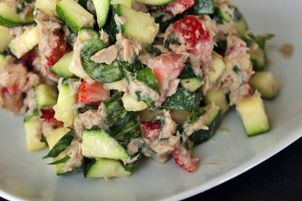 Tuna Salad with Zucchini and Strawberries Close Up
