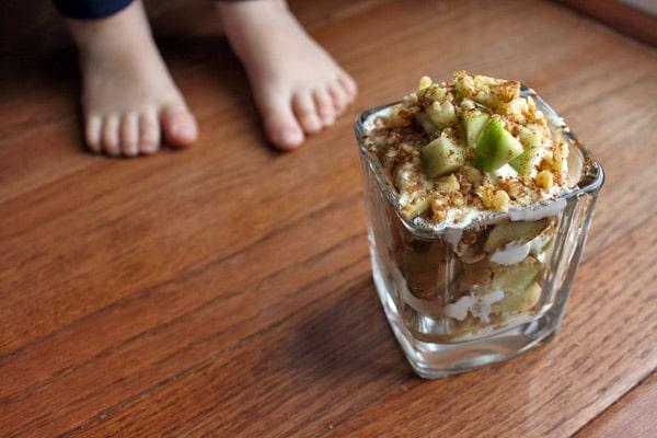 Toddler feet and Apple and Walnut Yogurt Parfait