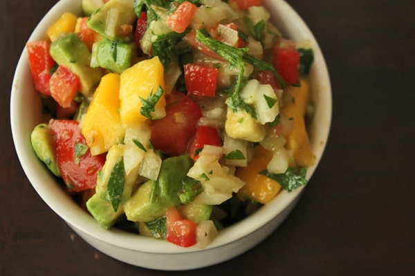 Avocado Mango Salsa in Bowl