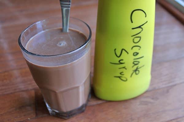 chocolate milk make with homemade chocolate syrup