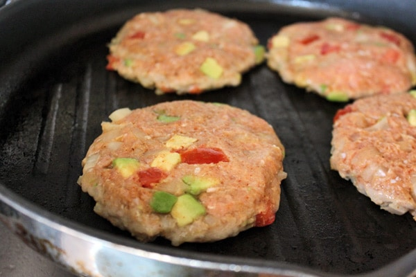 Guac-Turkey Burgers - Cooking