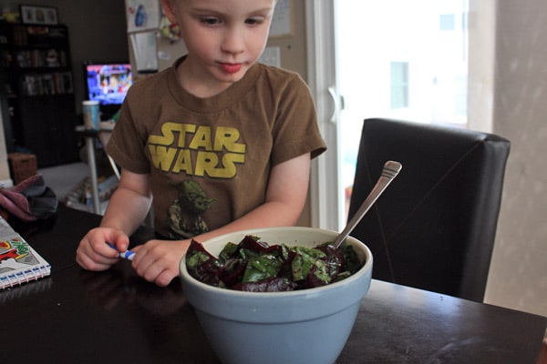 3 year old with beets