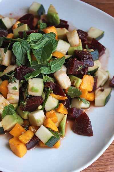 Chopped Beet, Avocado and Zucchini Salad with Thyme, Lime Juice and Fresh Mint