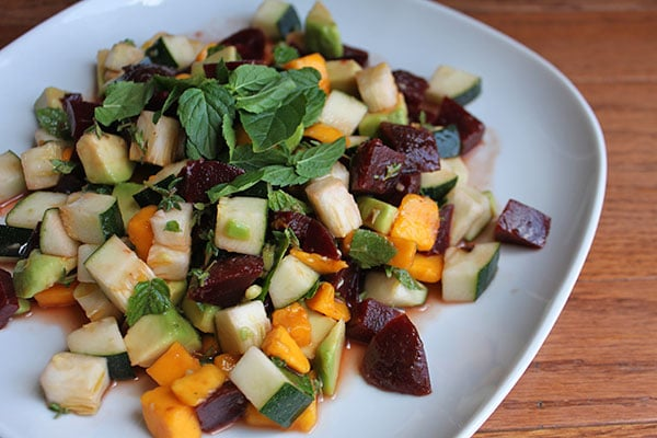Chopped Beet, Avocado and Zucchini Salad with Thyme, Lime Juice and Fresh Mint Plated